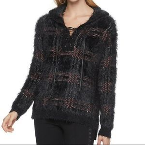 Rock & Republic lace-up hooded sweater